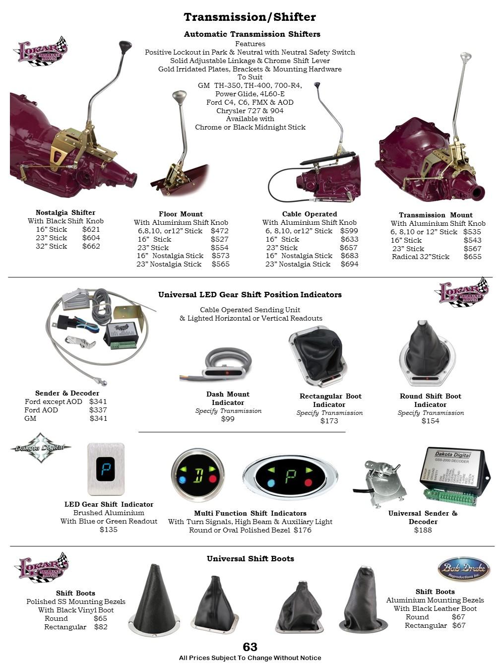 Car Lokar Auto Shifters, Gear Position Indicators, Shift Boot, Shift