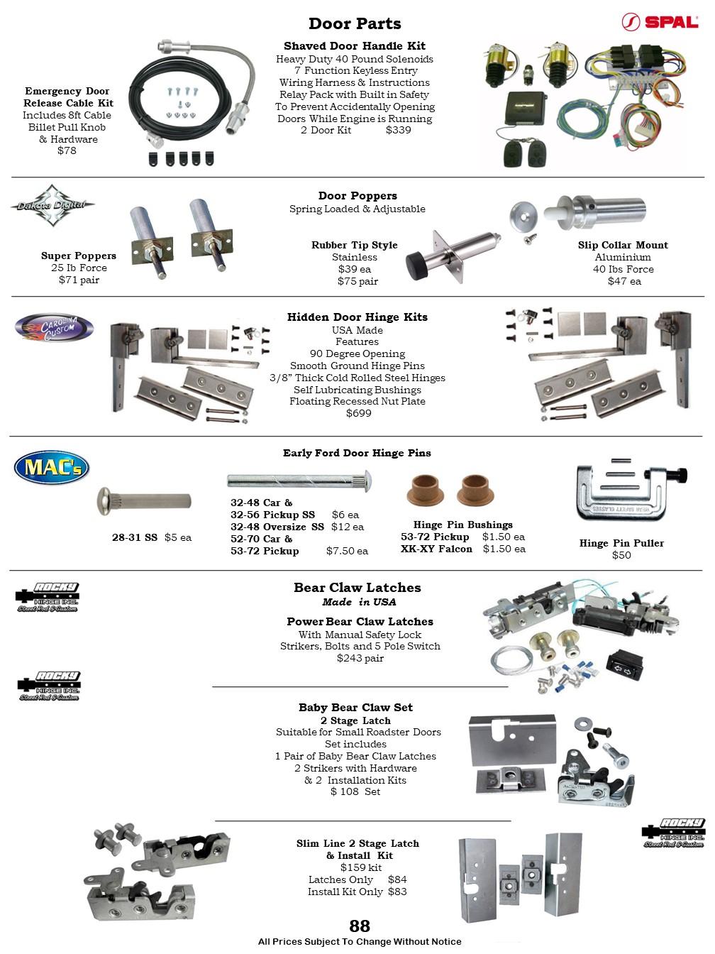 Car Door Parts Shaved Door Handle Kit Door Poppers Bear